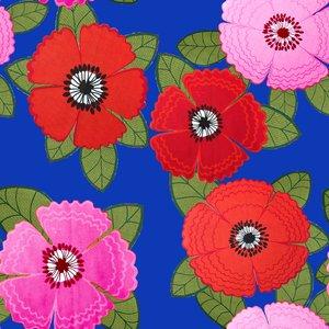 Mönstrad Trikå 150 cm - Zinnia Röd Rosa Blommor Blå