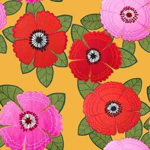 Mönstrad Trikå 150 cm - Zinnia Röd Rosa Blommor Senap