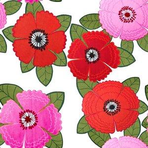 Mönstrad Trikå 150 cm - Zinnia Röd Rosa Blommor Vit