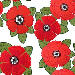 Mönstrad Trikå 150 cm - Zinnia Röda Blommor Vit