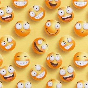 Mönstrad Trikå 160 cm - Emoji Fun Go Crazy Gul