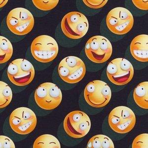 Mönstrad Trikå 160 cm - Emoji Fun Go Crazy Mullvad