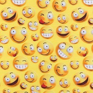 Mönstrad Trikå 160 cm - Emoji Fun Take It Easy Gul