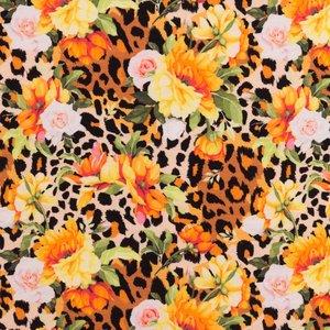 Mönstrad Trikå 160 cm - Farliga Blommor Brun