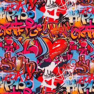 Mönstrad Trikå 160 cm - Graffiti Hip-Hop