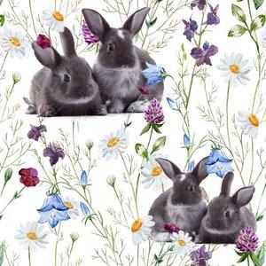 Mönstrad Trikå 160 cm - Kaniner Äng