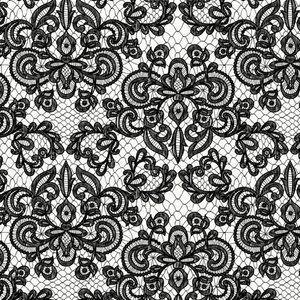 Mönstrad Trikå 160 cm - Lace Vit Svart