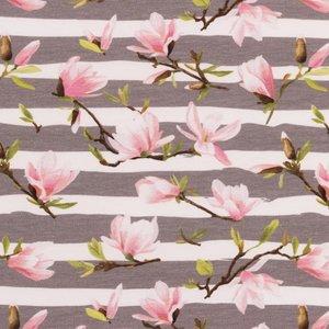 Mönstrad Trikå 160 cm - Ränder & Blommor Grå
