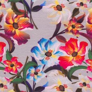 Mönstrad Trikå 160 cm - Stiliga Blommor Ljusgrå