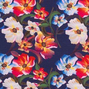 Mönstrad Trikå 160 cm - Stiliga Blommor Mörkblå