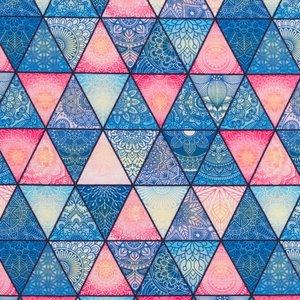 Mönstrad Trikå 160 cm - Trianglar Gammaldags Rosa