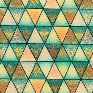 Mönstrad Trikå 160 cm - Trianglar Grön