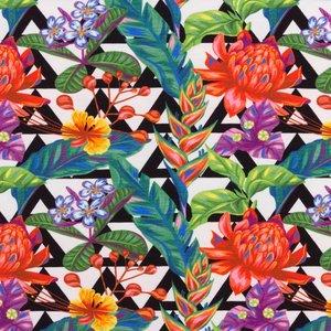 Mönstrad Trikå 160 cm - Tropiska Blommor Trianglar