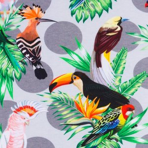 Mönstrad Trikå 160 cm - Tropiska Fåglar Ljusgrå