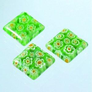 Millefioripärlor 14x14xT4mm - ljusgrön 3 st. kvadratiska platt