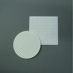 Nabbi pärlplatta 9 cm - vit 2 st. mix rund / fyrkantig