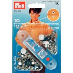 Nittryckknapp Mini mässing silverfärg 8 mm 10 st