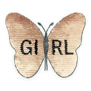 Paljettmärke Vändbart - Butterfly Girl