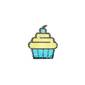 Paljettmärke Vändbart - Cupcake