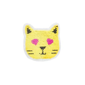 Paljettmärke Vändbart - Gold Cat