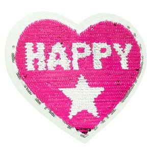 Paljettmärke Vändbart - Happy Girl