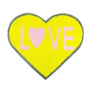 Paljettmärke Vändbart - Heart Love