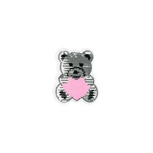 Paljettmärke Vändbart - Small Teddybear Heart