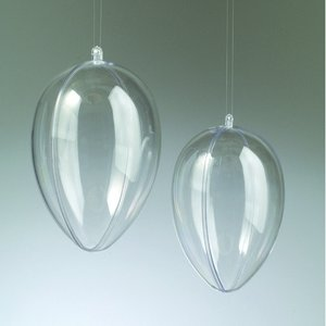 Plastägg - kristallklar separerbar med hål (PS)