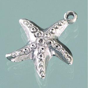 Plastamulett ø 23 mm - åldrat silver 3 st. sjöstjärna
