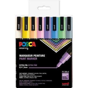 Poscaset PC-3M Pastell - 8 Pennor