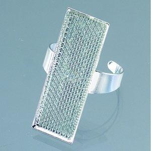 Ring med sil 12 x 35 mm - försilvrad rektangulär