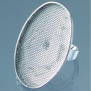 Ring med sil 25 x 40 mm - försilvrad oval