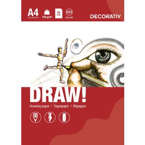 Ritblock DRAW A4 (160g) - 50 ark