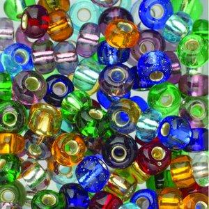 Rocaillespärlor mix 6 mm - blandade färger - transparenta