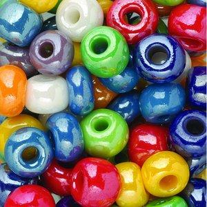 Rocaillespärlor mix 9 mm - blandade färger - ogenomskinliga