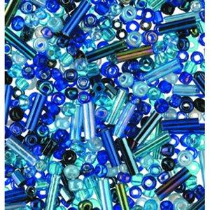 Rocaillespärlor rund och stavformad mix - blå