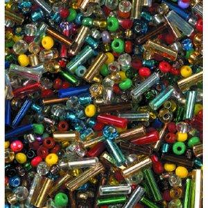 Rocaillespärlor rund och stavformad mix - blandade färger