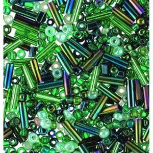 Rocaillespärlor rund och stavformad mix - grön