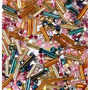 Rocaillespärlor rund och stavformad mix - guld