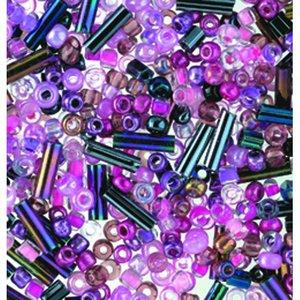 Rocaillespärlor rund och stavformad mix - ljust rosa