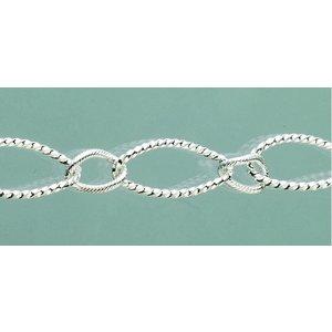 Smyckeskedja 23 cm - försilvrad 1 st. oval struktur