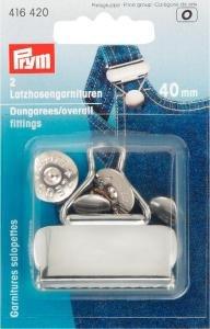 Snickarbyx-/Overallspänne stål silverfärg 40 mm 2 st