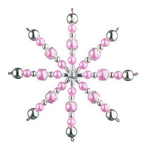 Ståltrådsstjärna med pärlor ø 10 cm - ljusrosa / silver 1 st hantverkskit