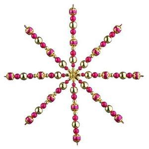 Ståltrådsstjärna med pärlor ø 15 cm - röd / guld 1 st hantverkskit
