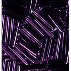 Stavpärlor silverlinjerade ø 2 x 11 mm - malvafärgad 15 g
