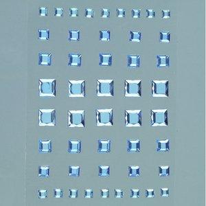 Strass akryl självhäftande 4 5 6 8 mm - ljusblå 48-pack Fyrkant