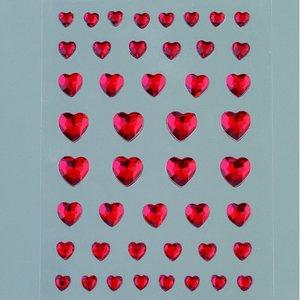 Strass akryl självhäftande 4 6 8 10 mm - röda 46-pack Hjärta