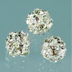 Strass boll med hål 8 mm - silver