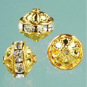 Strasspärlor filigran 10 mm - kristall / guld