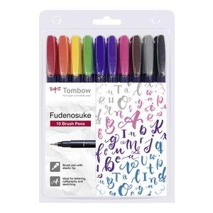 Tombow Brush pen Fudenosuke Hård - 10 pennor